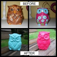 How to spray paint a thrift store find - I like the before owl on the right just how it was