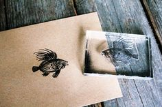 Fish Stamp - Fish Rubber Stamp - Seafood Rubber Stamp - Lionfish Rubber Stamp
