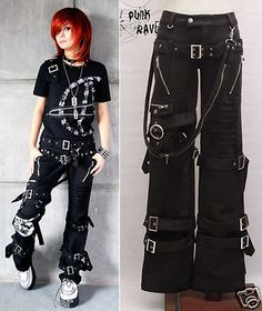 Punk Rave Rockabily Pants Fashion Mens Womens Gothic Streampunk Trousers S-XXL