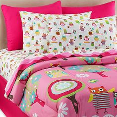 Owl Ditsy 6-8 Piece Full Comforter and Sheet Set