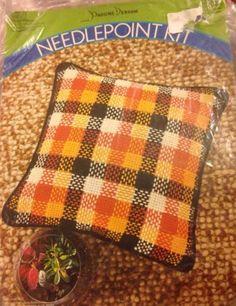 """1972 Pauline Denham Plaid Needlepoint Pillow Kit 4507 15"""" x 15"""" Opened Unused"""