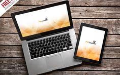 MacBook Pro and iPad Mockup Template Free PSD