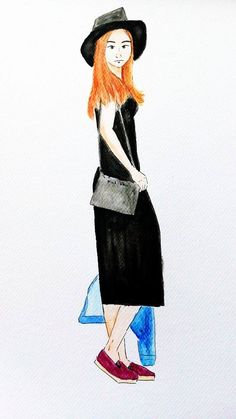 @dvorakovajulie and her black outfit #bloggerdrawing