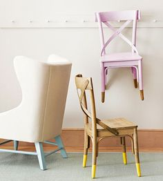 Add color to chairs by dipping them in paint!