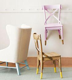 dip kids chair legs in color - love it!