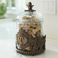 Personalized Decorative Baroque Pet Treat Jar. Love this!!