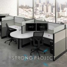 Shop our unique & modern office workstation cubicles for today's workplace including our new Social Distancing Cubicles, workstation desks, sit stand workstations, office partitions & more! Contemporary Office Chairs, Modern Office Design, Office Furniture Design, Business Furniture, Creative Office Space, Office Spaces, Creative Studio, Office Workstations, Affordable Furniture