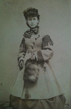 1860s assemetrical coat.  outerwear. American. civil war era fashion