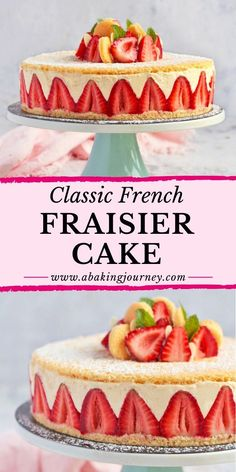 This Classic French Fraisier Cake recipe makes the most delicious summer cake ever! Perfect for a fancy tea party or French Desserts, Köstliche Desserts, Delicious Desserts, Dessert Recipes, French Sweets, Great British Bake Off, Food Cakes, Cupcake Cakes, Strawberry Layer Cakes