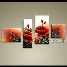 Primitive Contemporary Wall Art High Quality Oil Painting For Bed Room Poppy Flowers. This 4 panels canvas wall art is hand painted by Anmi.Z, instock - $135. To see more, visit OilPaintingShops.com