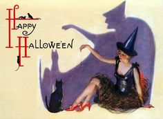 Halloween Young Witch in Party Dress & Hat Black CatBoden #magical #menagerie
