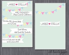 """DIY PRINTABLE Birthday, Baby shower, Wedding, Engagement, Bridal Shower Party Invitation """"Buntings & Flags"""""""