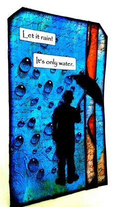 Water droplets stamp from Designs by Ryn.    Www.designsbyryn.com #mixedmedia