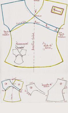 patrones de blusa con diseño cruzado en espalda #blusas #moda #moldes #modazeus
