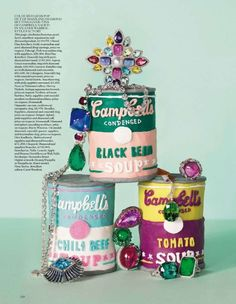 Re-coloured Campbell soup cans fashioned for a kitsch Vogue jewellery shoot