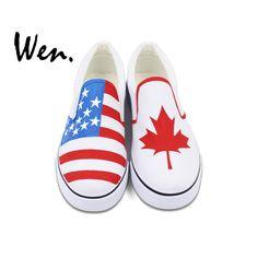 bd352b244d Wen Custom Design Hand Painted Slip On Shoes American Flag Canada Flag Maple  Leaf Unisex White