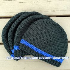 Crochet Free Crochet Pattern for Thin Blue Line Beanie by Calleigh's Clips and Crochet C. Love, Crochet Pattern for Thin Blue Line Beanie by Calleigh's Clips and Crochet C. Free Crochet Pattern for Thin Blue Line Beanie by Calleigh's Clips. Mens Beanie Crochet Pattern, Beanie Pattern Free, Crochet Adult Hat, Crochet Men, Crochet Headband Pattern, Crochet Beanie Hat, Free Crochet, Crochet Hats, Free Pattern