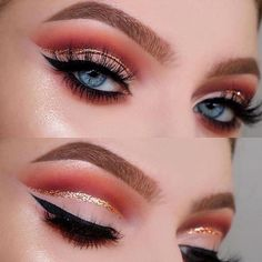 Glitter cut crease ✨✨✨ #glamprocosmetics #minklashes #lashes #mink #upto25wears #crueltyfree #apricoteyeshadow #blueeyes #makeupinspo #halfcutcrease