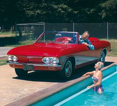 Chevrolet Corvair Monza Convertible, 1965 - I always pull up within a foot of the pool