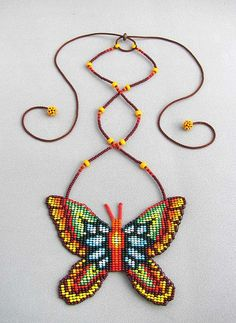 Seed Beaded Butterfly Necklace Spirit Animal by HANWImedicineArt