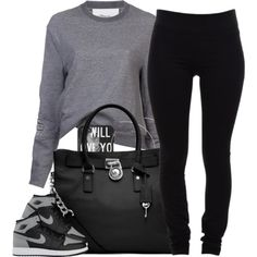 A fashion look from March 2014 featuring 3.1 Phillip Lim sweatshirts, Helmut Lang leggings and MICHAEL Michael Kors tote bags. Browse and shop related looks.