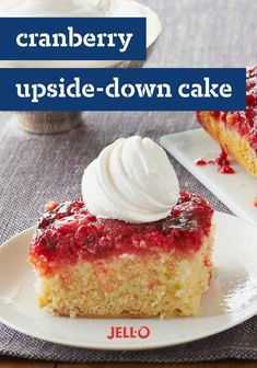 Leave the pineapple at the market and make a Cranberry Upside-Down Cake instead! Not a baker? Not a problem! This video will show you how to use a cake mix to make this easy and delicious Cranberry Upside-Down Cake. Jello Recipes, Cookie Recipes, Dessert Recipes, Cranberry Recipes, Holiday Recipes, Cranberry Bog, Thanksgiving Recipes, Just Desserts, Deserts