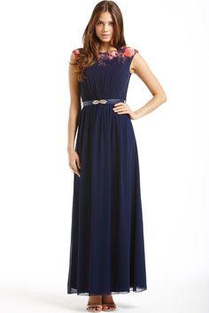Navy Blue Chiffon Maxi Dress | Dresscab