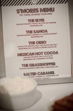 s'mores bar menu!!!