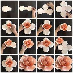 Full rose paper flower templat