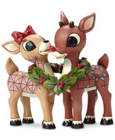 A classic Christmas love story. A sweet way to celebrate the season, this Jim Shore figurine features everyone's favorite reindeer couple, Rudolph and Clarice, connected by a heart-shaped wreath wrapped around their necks. Page 1 Jim Shore Christmas, Christmas Love, Vintage Christmas, Disney Christmas, Christmas Ideas, Merry Christmas, Christmas Cartoons, Christmas Scenes, Christmas Books