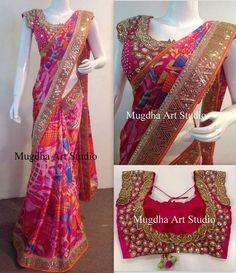 Printed Satin Saree by Mugdha - Saree Blouse Patterns Saree Blouse Patterns, Saree Blouse Designs, Fancy Sarees, Party Wear Sarees, Indian Dresses, Indian Outfits, Indiana, Satin Saree, Saree Trends