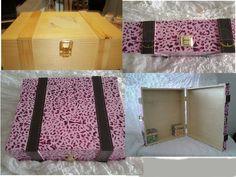 caja de vinos transformada en maleta para ropa de muñecas