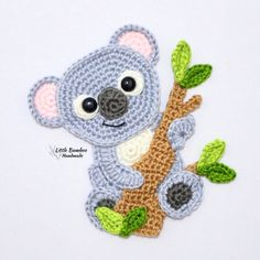 PATTERN- Koala Applique-Crochet Pattern, pdf What's Makeup ? What is Makeup ? Generally, what's makeup ? Crochet Applique Patterns Free, Crochet Motif, Crochet Flowers, Knitting Patterns, Crochet Appliques, Free Pattern, Cute Crochet, Crochet Toys, Crochet Baby