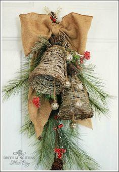 Glittery Twig Bell Pine Door Swag