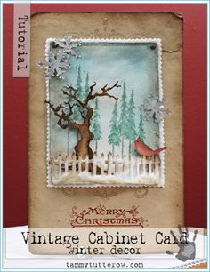 Card by Tammy Tutterow (112012) [Sizzix Tim Holtz (dies) Cardinal & Poinsettia, Mini Snowflakes, On the Fence, Stamp2Cut No.10; (stamps) Reindeer Flight, Winter Sketchbook]