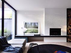 window wall/fireplace ledge -Fairbairn House / Inglis Architects