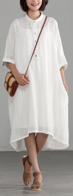 e205908939 Fine long cotton linen dresses plus size clothing Linen Cotton Irregular  Buttons Thin White Dress. Omychic Linen Dress