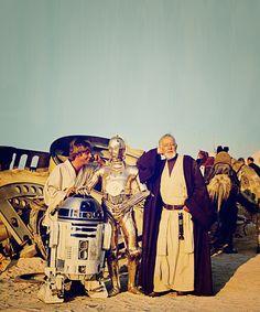 Luke Skywalker, R2-D2, C-3PO & Obi Wan Kenobi.