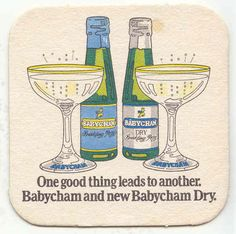 """Babycham Babycham Dry """"One Good Thing Leads To Another"""" beermat from Oh Deer, Fun To Be One, Vintage Ads, Childhood Memories, Thrifting, Nostalgia, Bubbles, Good Things, Make It Yourself"""