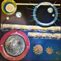 #Modern #Abstract #materic #painting on wood board. Dimension: 48 x 48 cm. Materials: Plaster, Hot Glue, Acrylic Colors, Colored Gems.  Replicas available on canvas or in custom dimensions. By #Viviana #Masullo