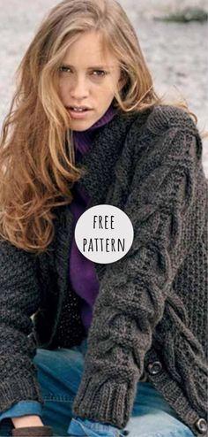 Knitting Cardigan Free Pattern Ladies Cardigan Knitting Patterns, Knit Vest Pattern, Free Chunky Knitting Patterns, Knitting Ideas, Crochet Pattern, Chunky Knit Cardigan, Summer Cardigan, Free Pattern, Lana