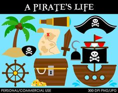 A Pirate's Life Clipart  Digital Clip Art by MareeTruelove on Etsy