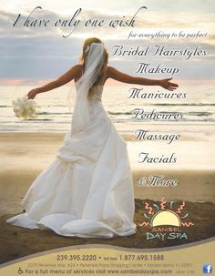 Bridal hair, make-up, nails & more at Sanibel Day Spa, Sanibel Island, FL.