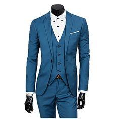 Men's Slim Fit Peak Lapel Suit Blazer Jacket Tux Vest & Trousers 3-piece Suit Set ( Small, Aqua Blue)