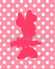INSTANT DOWNLOAD Minnie Pink Polka Dot by SmallWorldPrintables, $5.00 Disney Minnie Mouse Wall ARt silhouettes