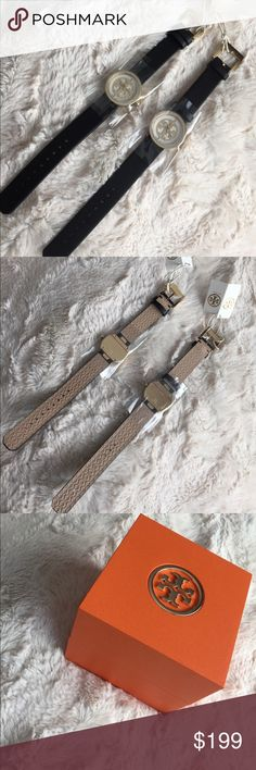 Tory Burch Reva Watch Black comfy leather strap with gold hardware and white face. I have two if interested. Tory Burch Accessories Watches