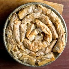 Coiled Greek Winter Squash Pie Recipe - NYT Cooking with option Vegetarian Thanksgiving, Going Vegetarian, Vegetarian Entrees, Thanksgiving Ideas, Greek Recipes, Pie Recipes, Healthy Recipes, Squash Pie, Vegetable Pie