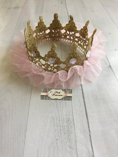 Pink & Gold TuTu Tulle Lace Princess Crown by PoshPrincessesBows
