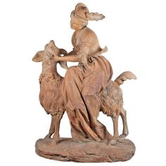 Fine French Patinated, Terra Cotta Group of an Elegant Lady Seated on a Goat | From a unique collection of antique and modern sculptures at https://www.1stdibs.com/furniture/more-furniture-collectibles/sculptures/