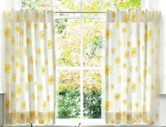 """Cafe Curtain Set 80"""" Wide Yellow Dandelions with Back Tabs on White Background Lined with Cotton Muslin. $60.00, via Etsy."""